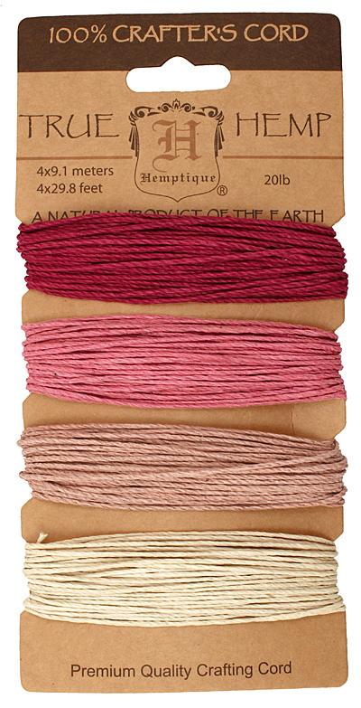 Shades of Ruby Hemp Twine 20 lb, 29.8 ft x 4 colors