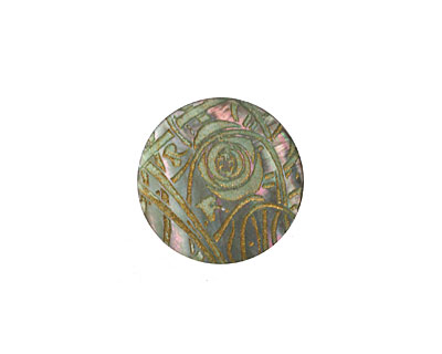 Lillypilly Celadon Rose Garden Black Lip Shell Round Cabochon 20mm