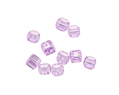 Lilac Faceted Cube 4mm