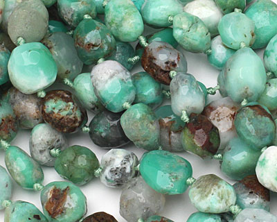Australian Chrysoprase Faceted Nugget 13-15x12-14mm