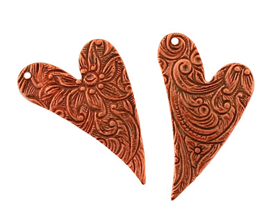 Stampt Antique Copper (plated) Floral Embossed Heart 17x25mm