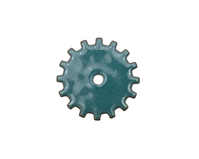 C-Koop Enameled Metal Peacock Blue Closed Gear 19mm