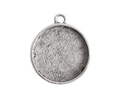 Nunn Design Antique Silver (plated) Crest Circle Bezel Pendant 23x27mm
