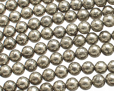 Golden Pyrite (silver tone) Round 6mm
