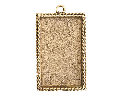 Nunn Design Antique Gold (plated) Large Ornate Rectangle Bezel Pendant 25x43mm