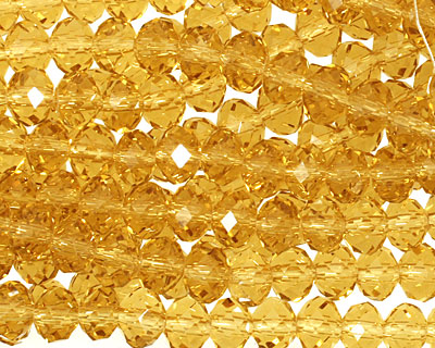 Amber Crystal Faceted Rondelle 6mm