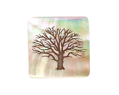 Lillypilly Toffee Tree of Life Mother of Pearl Square Cabochon 24mm