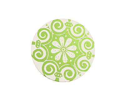 Lillypilly Lime Green Scrolling Daisy Anodized Aluminum Disc 25mm, 24 gauge