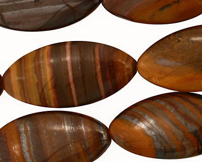 Iron Zebra Jasper Horse Eye 30x15mm