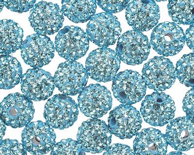 Aquamarine Pave (w/ Preciosa Crystals) Round 8mm