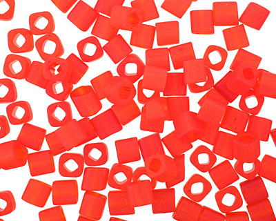 TOHO Transparent Frosted Siam Ruby Cube 4mm Seed Bead