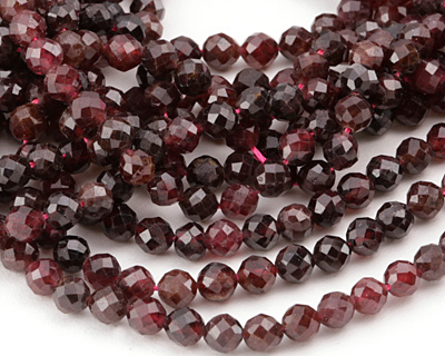 Garnet (dark) Faceted Round 4mm