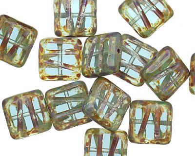 Czech Glass Transparent Aqua Picasso Carved Square 10mm