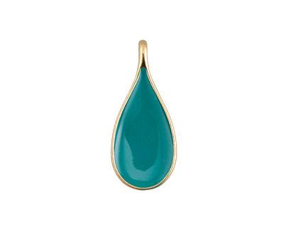 Zola Elements Turquoise Enamel Matte Gold Finish Teardrop Focal 11x24mm