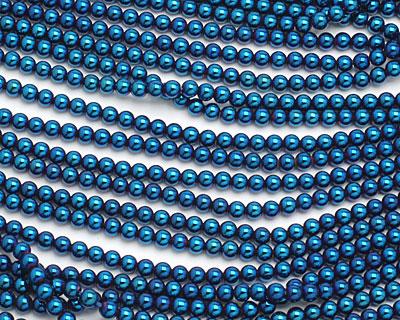 Metallic Blue Hematite (plated) Round 4mm