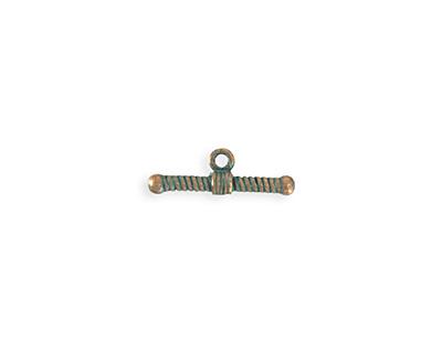 Vintaj Copper Verdigris (plated) Ribbed Toggle Bar 7x20mm