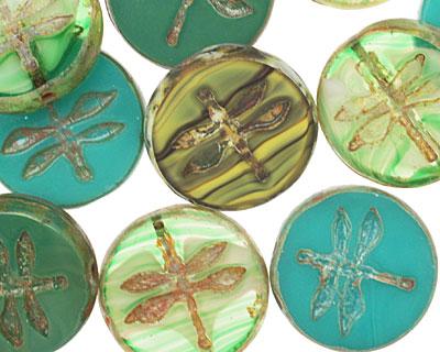 Czech Glass Algae Dragonfly Coin 17mm