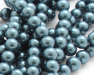 Marine Blue Shell Pearl Round 4mm