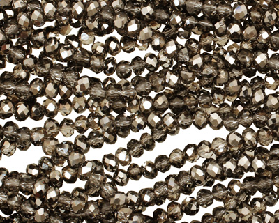 Silver & Black Diamond Crystal Faceted Rondelle 3mm