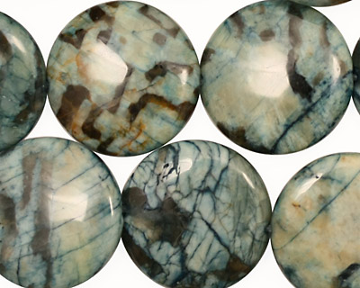 Mystic Blue Feldspath Puff Coin 20mm