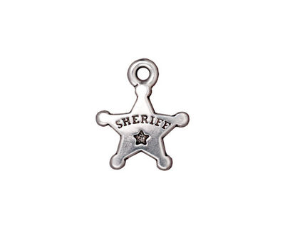 TierraCast Antique Silver (plated) Sheriff's Badge 15x18mm