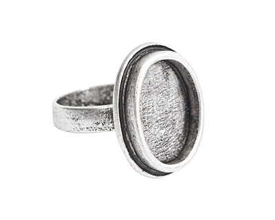 Nunn Design Antique Silver (plated) Traditional Oval Adjustable Bezel Ring 19x24mm