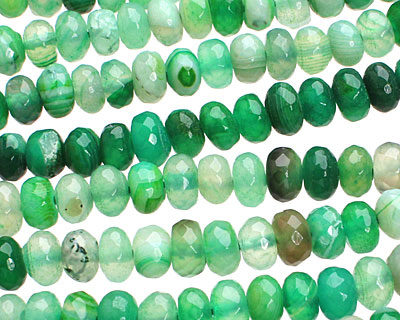 Green Agate Faceted Rondelle 8-9mm