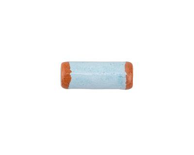 Greek Pueblo Ceramic Arctic Blue Tube 16-17x6-7mm