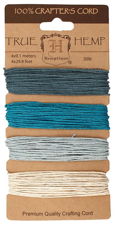 Shades of Aquamarine Hemp Twine 20 lb, 29.8 ft x 4 colors