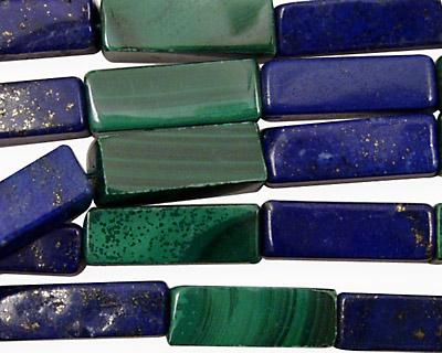 Multi Gemstone (Malachite & Lapis) Rectangle 18x6mm
