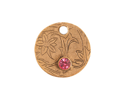 Nunn Design Antique Gold (plated) Decorative Small Circle Tag w/ Rose Crystal 20mm