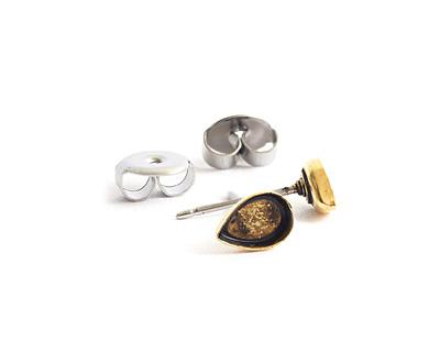 Nunn Design Antique Gold (plated) Teardrop Bezel Post Earring 4.5x6.5mm