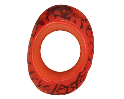 Tagua Nut Coral Open Slice (side drilled) 33-45x24-36mm