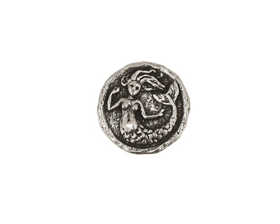 Green Girl Pewter Small Mermaid Button 15mm