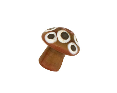 The BeadsNest Lampwork Glass Brown Mushroom 15-18x16-17mm