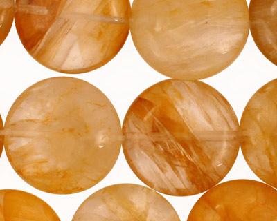 Yellow Hematoid Quartz Puff Coin 20mm