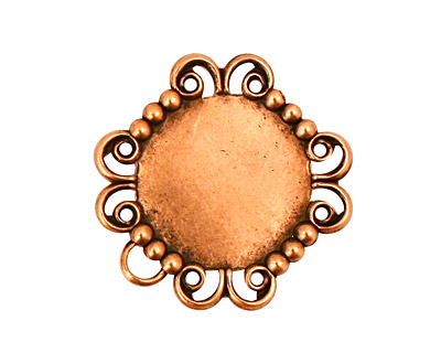 Stampt Antique Copper (plated) Lace Banded Round Setting 15mm