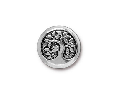 TierraCast Antique Silver (plated) Bird In A Tree Button 16mm