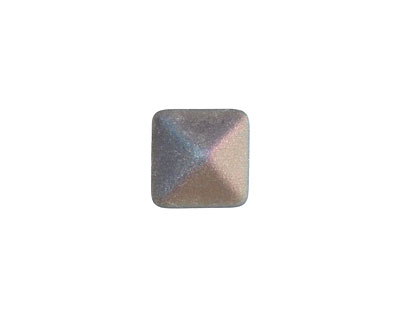 Czech Glass Crystal Rainbow (matte) 2-Hole Pyramid Stud Bead 12mm