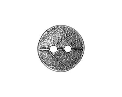 TierraCast Antique Pewter (plated) Round Leaf Button 17mm