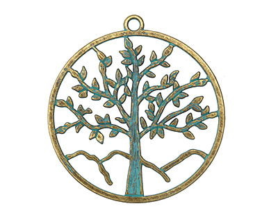 Zola Elements Patina Green Brass (plated) Tree of Life Pendant 56x60mm