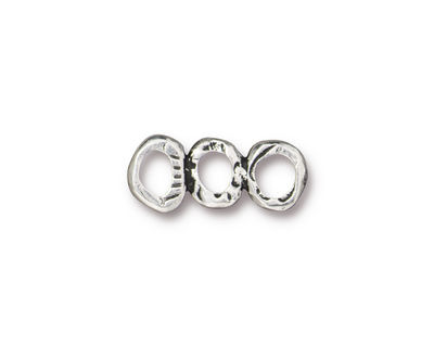TierraCast Antique Silver (plated) 3 Ring Bar Link 19x7mm