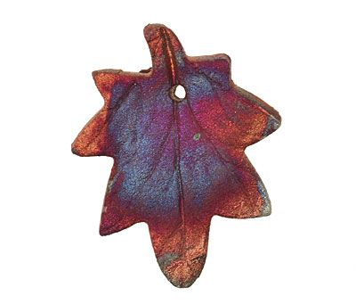 XAZ Raku Maple Leaf Pendant 37x45-47mm