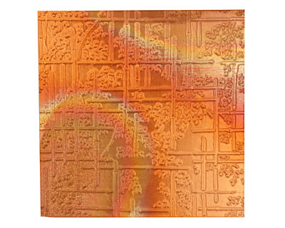 Lillypilly Flamed Bamboo Embossed Patina Copper Sheet 3