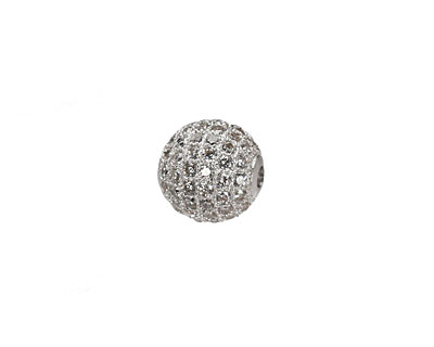 Silver (plated) CZ Micro Pave Round 10mm