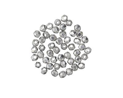 Czech Glass Silver Fire Polished Round 2mm