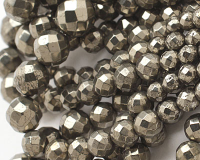 Golden Pyrite (silver tone) Faceted Round Graduated 4-12mm