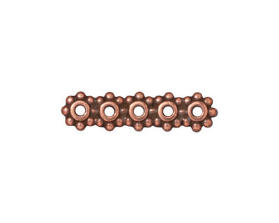 TierraCast Antique Copper (plated) 5-Hole 6mm Heishi Bar 6x25mm