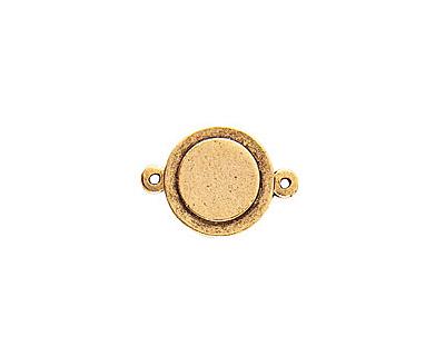 Nunn Design Antique Gold (plated) Raised Tag Mini Circle Connector 25x13mm