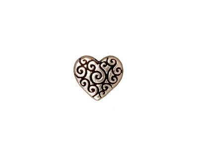 TierraCast Antique Silver (plated) Heart Scroll Bead 10x11mm
